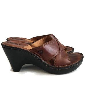 Born Brown Leather Women's Sandals Size 7 / 38
